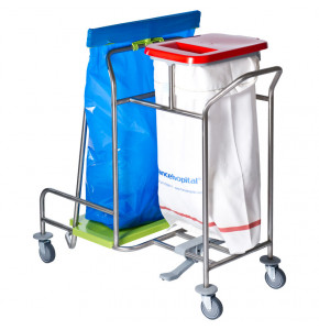 Dirty linen + waste collection trolley