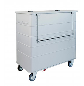 Anodized light alloy container with lid and front door