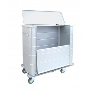 Anodized light alloy container with lid, front door and rubber bumper