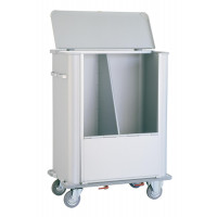 Anodized light alloy container with lid, tight separation, front doors and rubber bumper