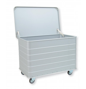 Anodized light alloy container with hinged lid