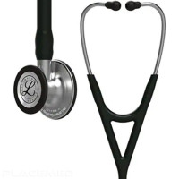 Cardiology Diagnostic Stethoscope - Standard-finish chestpiece, black tube, 55 cm